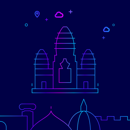 Angkor Wat, Cambodia Vector Line Illustration. Historical Landmarks Gradient Icon, Symbol, Pictogram, Sign. Dark Blue Background. Light Abstract Geometric Background. Related Bottom Border Illustration