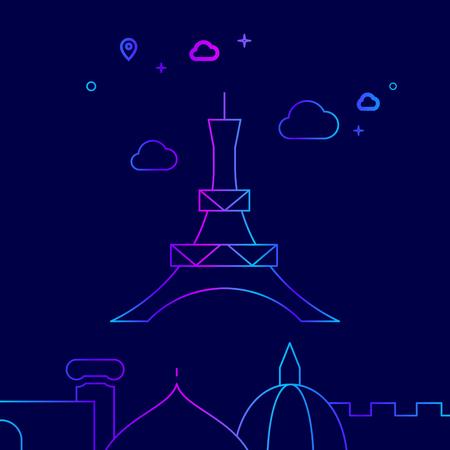 Eiffel Tower, Paris Vector Line Illustration. Historical Landmarks Gradient Icon, Symbol, Pictogram, Sign. Dark Blue Background. Light Abstract Geometric Background. Related Bottom Border
