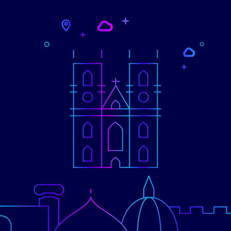 Westminster Abbey, London Vector Line Illustration. Historical Landmarks Gradient Icon, Symbol, Pictogram, Sign. Dark Blue Background. Light Abstract Geometric Background. Related Bottom Border