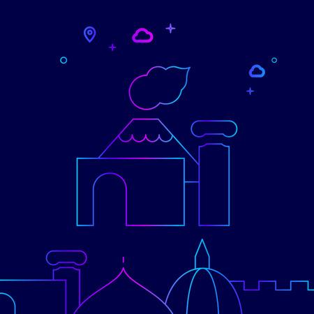 Pompeii, Italy Vector Line Illustration. Historical Landmarks Gradient Icon, Symbol, Pictogram, Sign. Dark Blue Background. Light Abstract Geometric Background. Related Bottom Border