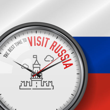 The Best Time for Visit Russia. White Vector Clock with Motivational Slogan. Analog Metal Watch with Glass. Vector Illustration on Russian Flag Background. Moscow Kremlin Icon.