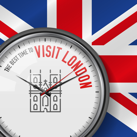 The Best Time for Visit London. White Vector Clock with Motivational Slogan. Analog Metal Watch with Glass. Vector Illustration on British Flag Background. Westminster Abbey Icon.