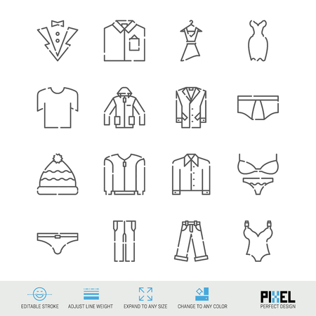 Vector Line Icon Set. Clothes Related Linear Icons. Garments Symbols, Pictograms, Signs. Pixel Perfect Design. Editable Stroke. Adjust Line Weight. Expand to Any Size. Change to Any Color.