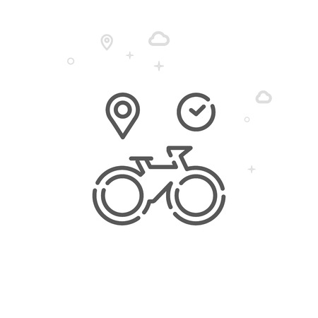 Bike or Bicycle Rental Vector Line Icon, Symbol, Pictogram, Sign. Light Abstract Geometric Background. Editable Stroke Illustration
