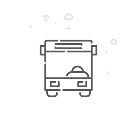 Bus Front View Vector Line Icon. City Urban Transport Symbol, Pictogram, Sign. Light Abstract Geometric Background. Editable Stroke. Adjust Line Weight. Design with Pixel Perfection.