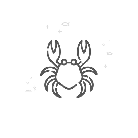 Crab Vector Line Icon. Marine Life, Sea Creatures Symbol, Pictogram, Sign. Light Abstract Geometric Background. Editable Stroke. Adjust Line Weight. Design with Pixel Perfection. Illustration