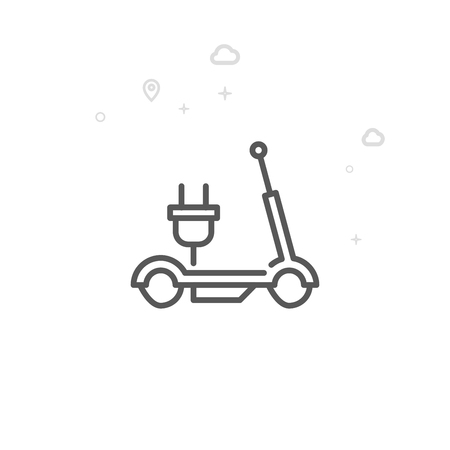 Electric Scooter Vector Line Icon. City Urban Transport Symbol, Pictogram, Sign. Light Abstract Geometric Background. Editable Stroke. Adjust Line Weight. Design with Pixel Perfection.