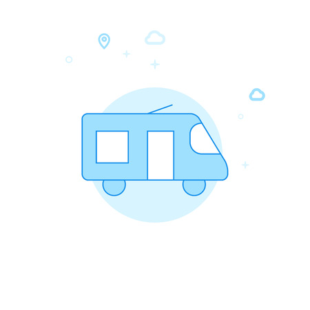 Minibus, Microbus or Shuttle Bus Flat Vector Icon. City, Urban, Public Transport Illustration. Light Flat Style. Blue Monochrome Design. Editable Stroke. Adjust Line Weight.