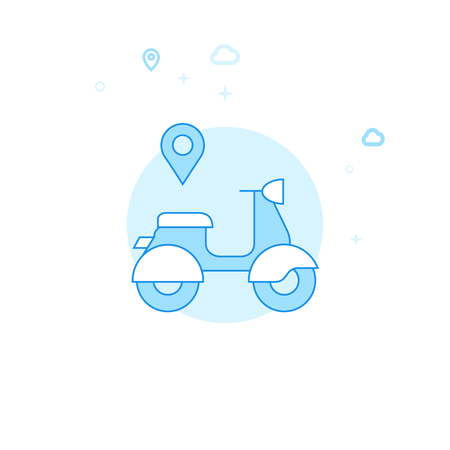 Scooter Rental, Delivery Flat Vector Icon. City, Urban, Public Transport Illustration. Light Flat Style. Blue Monochrome Design. Editable Stroke. Adjust Line Weight.