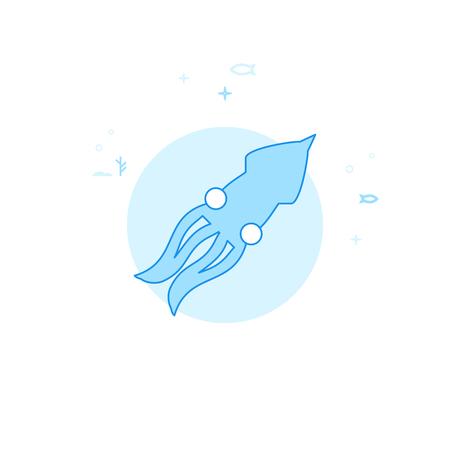 Squid, Cephalopod Flat Vector Icon. Marine Life, Underwater World, Sea Creature Illustration. Light Flat Style. Blue Monochrome Design. Editable Stroke. Adjust Line Weight.