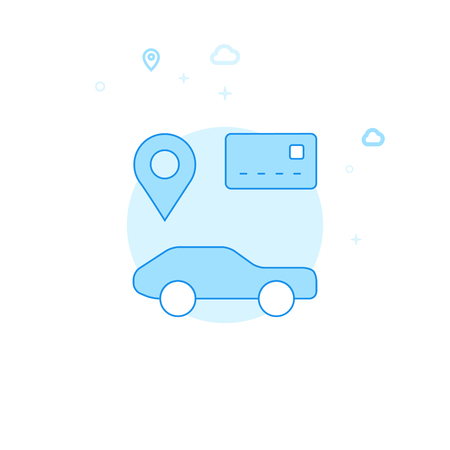 Car Sharing, Car Rental Flat Vector Icon. City, Urban, Public Transport Illustration. Light Flat Style. Blue Monochrome Design. Editable Stroke. Adjust Line Weight. 矢量图像