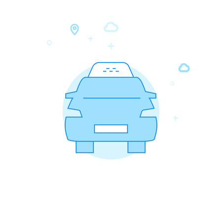 Taxi Car Flat Vector Icon. City, Urban, Public Transport Illustration. Light Flat Style. Blue Monochrome Design. Editable Stroke. Adjust Line Weight. Illustration
