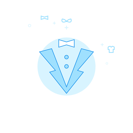 Tuxedo, Jacket Flat Vector Icon. Clothes or Garments, Wear Illustration. Light Flat Style. Blue Monochrome Design. Editable Stroke. Adjust Line Weight