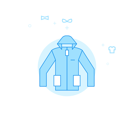 Hoodie or Winter Coat Flat Vector Icon. Clothes or Garments, Wear Illustration. Light Flat Style. Blue Monochrome Design. Editable Stroke. Adjust Line Weight.