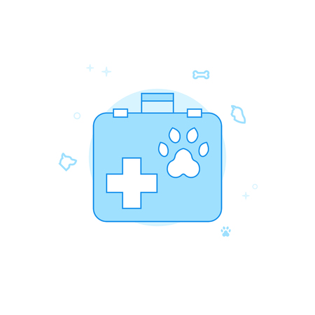 Veterinary Suitcase Flat Vector Icon. Pet and Pet Supply Illustration. Light Flat Style. Blue Monochrome Design. Editable Stroke. Adjust Line Weight.