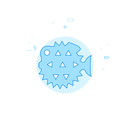 Spiny Fish, Puffer Fish Flat Vector Icon. Marine Life, Underwater World, Sea Creature Illustration. Light Flat Style. Blue Monochrome Design. Editable Stroke. Adjust Line Weight. Ilustrace