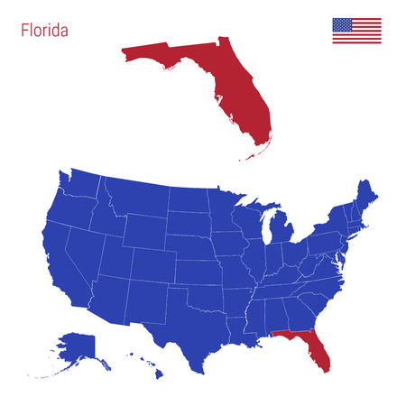 The State Of Florida Is Highlighted In Red. Blue Vector Map Of The ...