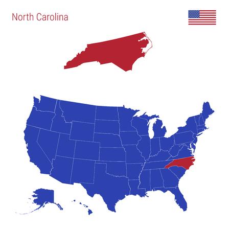 L'État de Caroline du Nord est surligné en rouge. Carte vectorielle bleue des États-Unis divisée en États distincts. Carte des États-Unis divisés en États individuels.