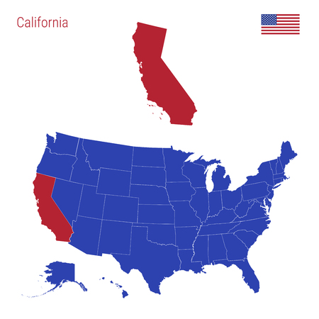 The State Of California Is Highlighted In Red. Blue Vector Map ... on