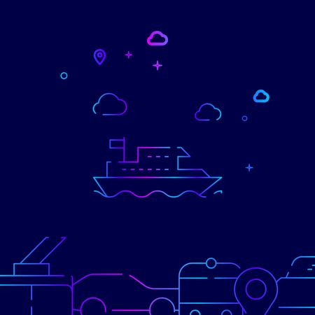 Boat, River Tram Vector Line Illustration. Public Transport Gradient Icon, Symbol or Pictogram, Sign. Dark Blue Background. Related Bottom Border.
