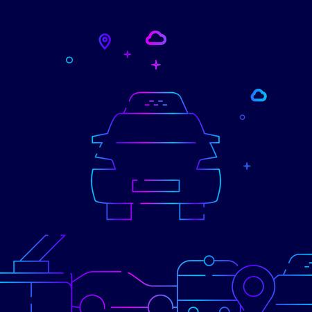 Taxi Car Vector Line Illustration. Public Transport Gradient Icon, Symbol, Sign. Dark Blue Background. Related Bottom Border.