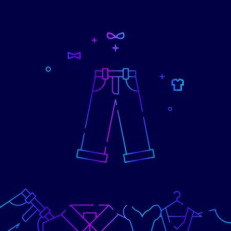 Jeans, Denim Vector Line Illustration. Clothes, Garments, Wear Gradient Icon or Symbol, Sign. Dark Blue Background. Related Bottom Border.