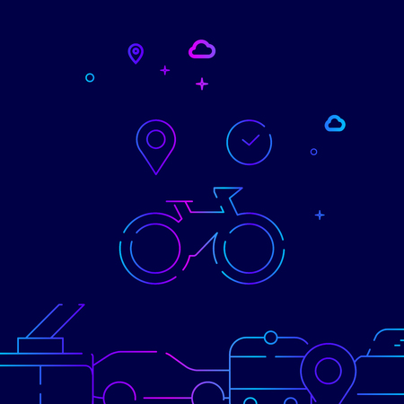 Bike or Bicycle Rental Vector Line Illustration. Public Transport Gradient Icon, Symbol, Sign. Dark Blue Background. Related Bottom Border.