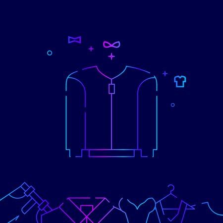 Short Sport Jacket Vector Line Illustration. Clothes, Garments, Wear Gradient Icon or Symbol, Sign. Dark Blue Background. Related Bottom Border.