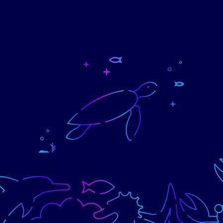 Sea Turtle Vector Line Illustration. Marine Life, Underwater World, Sea Creature Gradient Icon, Symbol or Pictogram, Sign. Dark Blue Background. Related Bottom Border.
