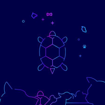Pet Turtle Vector Line Illustration. Pet Gradient Icon, Symbol or Pictogram, Sign. Dark Blue Background. Related Bottom Border.