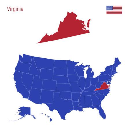 Der Bundesstaat Virginia ist rot hervorgehoben. Blaue Vektorkarte der Vereinigten Staaten, unterteilt in separate Staaten. Karte der USA in einzelne Staaten aufgeteilt. Vektorgrafik