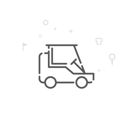 Golf Cart, Club Car Vector Line Icon. Golf Club, Country Club Symbol, Pictogram, Sign. Light Abstract Geometric Background. Editable Stroke. Adjust Line Weight. Design with Pixel Perfection.