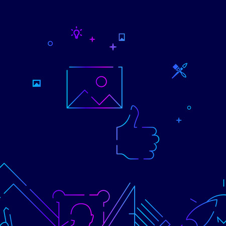 Design, Artwork Approved Vector Line Icon, Illustration on a Dark Blue Background. Related Bottom Border