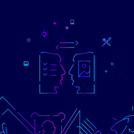 Designer and Client Vector Line Icon, Illustration on a Dark Blue Background. Related Bottom Border
