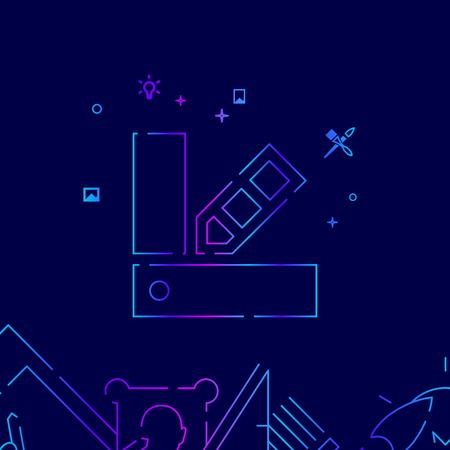 Color Fan Vector Line Icon, Illustration on a Dark Blue Background. Related Bottom Border Illustration