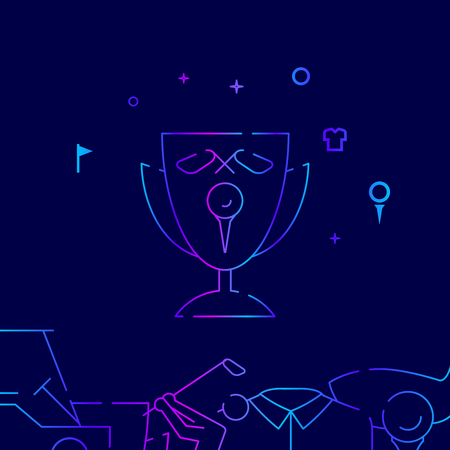 Golf Cup Trophy Vector Line Icon, Illustration on a Dark Blue Background. Related Bottom Border