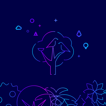 Bird Family with Nest on the Tree Vector Line Illustration. Wild Tree Gradient Icon, Symbol or Pictogram, Sign. Dark Blue Background. Related Bottom Border.