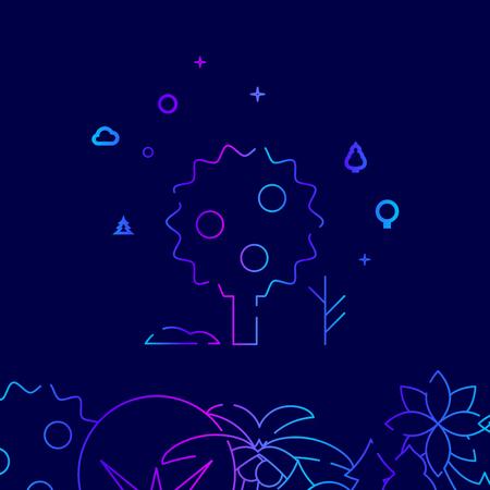 Apple Tree, Garden Tree Vector Line Illustration. Garden Tree Gradient Icon, Symbol or Pictogram, Sign. Dark Blue Background. Related Bottom Border.