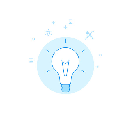 Creative Idea Bulb Flat Vector Icon. Design and Creativity Illustration. Light Flat Style. Blue Monochrome Design. Editable Stroke. Adjust Line Weight.