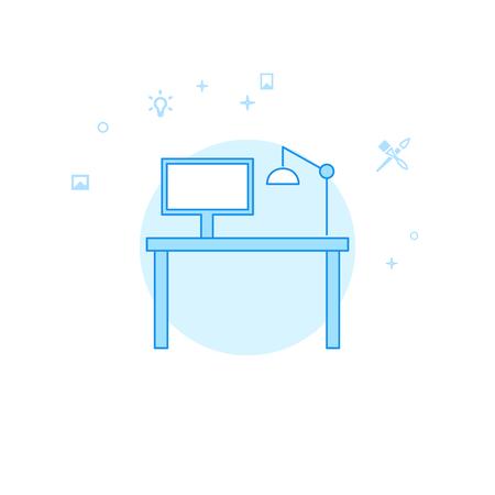 Designers Workplace Flat Vector Icon. Design and Creativity Illustration. Light Flat Style. Blue Monochrome Design. Editable Stroke. Adjust Line Weight.