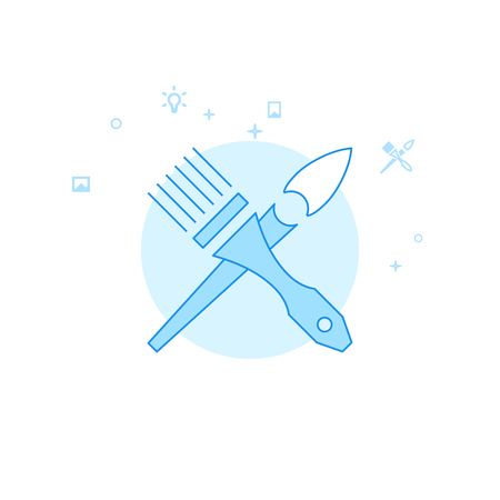 Crossed Brushes Flat Vector Icon. Design and Creativity Illustration. Light Flat Style. Blue Monochrome Design. Editable Stroke. Adjust Line Weight.