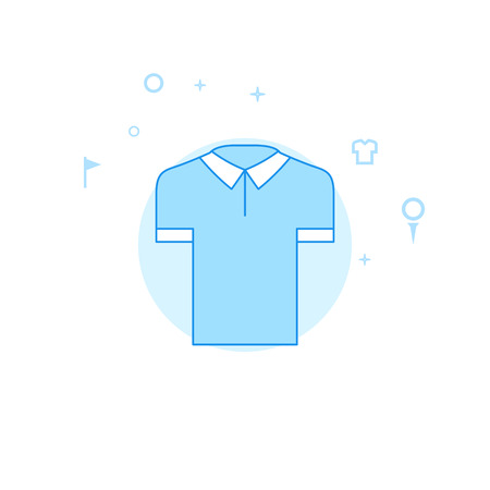Golf Shirt Flat Vector Icon. Golf Club, Country Club Illustration. Light Flat Style. Blue Monochrome Design. Editable Stroke. Adjust Line Weight.