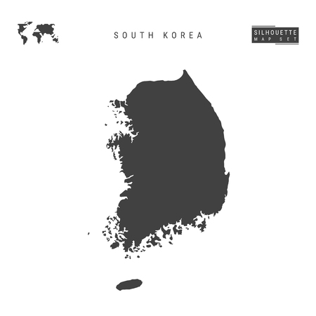 South Korea Blank Vector Map Isolated on White Background. High-Detailed Black Silhouette Map of South Korea. Imagens - 122369339