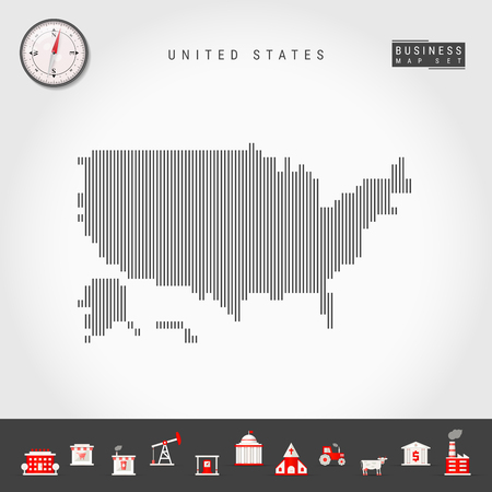 Vector Vertical Lines Pattern Map Of United States. Striped Simple ...