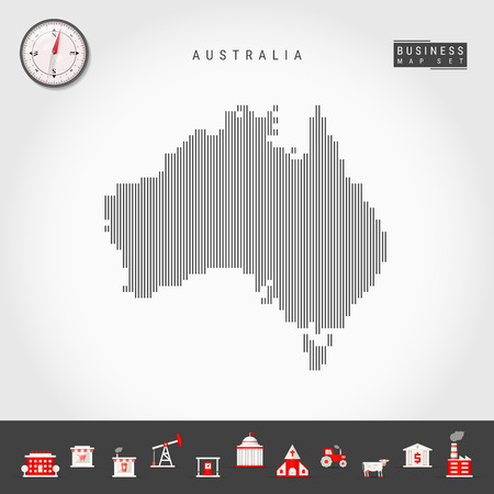Vector Vertical Lines Map of Australia. Striped Silhouette of Australia. Realistic Compass. Business Icons 向量圖像