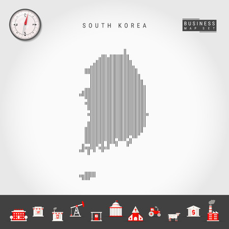 Vector Vertical Lines Map of South Korea. Striped Silhouette of South Korea. Realistic Compass. Business Icons