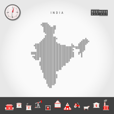 Vector Vertical Lines Map of India. Striped Silhouette of India. Realistic Compass. Business Icons
