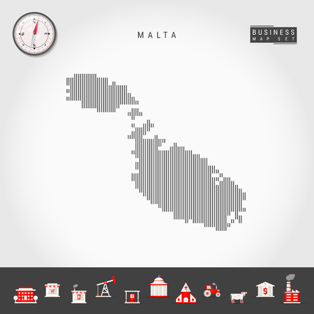 Vector Vertical Lines Map of Malta. Striped Silhouette of Malta. Realistic Compass. Business Icons