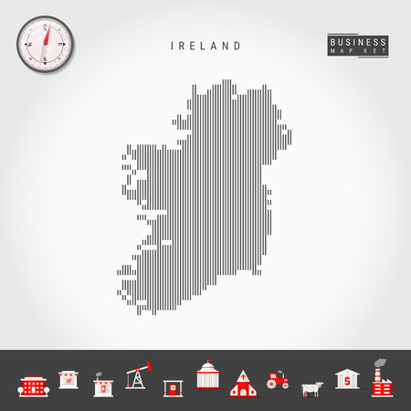 Vector Vertical Lines Map of Ireland. Striped Silhouette of Ireland. Realistic Compass. Business Icons