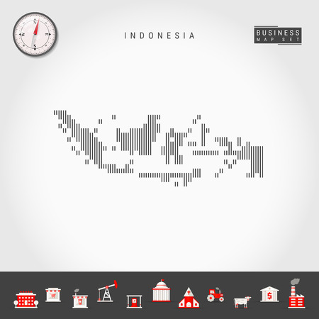 Vector Vertical Lines Map of Indonesia. Striped Silhouette of Indonesia. Realistic Compass. Business Icons
